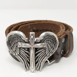 NOCONA Women's Cross & Wings Leather Belt NWT 36""